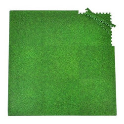 Tadpoles Playmat 9-Piece Set, Grass Print - On rainy days, keep your little ones indoors while letting them feel like they're still at the playground.
