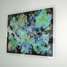 Contemporary Artwork Galaxy Blues Plexiglass Abstract Painting