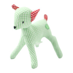 K�the Kruse - Mini Deer, Green/White - Baby goes gingham style. A cute gift to welcome the new little dear in your life, this little deer is hand sewn in your choice of green and white or dark pink and white gingham fabric with contrasting fabric ears and tail.