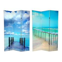 Oriental Furniture - 6 ft. Tall Double Sided Ocean Room Divider - These two vivid water front photographs highlight the beauty of the tropical beaches and the ever-stretching, clear blue ocean. The front side image is a beautiful shot of the sapphire blue Atlantic; the backside image is an equally beautiful photo of the emerald green Caribbean. Two beautiful ocean front images, your choice of which to display; or find a spot where both sides can shine.