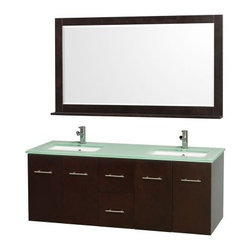 Wyndham Collection Centra 60-in. Double Bathroom Vanity Set - Espresso - The Wyndham Collection Centra 60-in. Double Bathroom Vanity Set - Espresso makes the most of your master bath. This beauty provides ample storage, modern style, and a matching mirror to make it perfect. It's made of eco-friendly, solid hardwoods drenched in a deep espresso finish and comes complete with two undermount sinks, your choice of stylish countertop materials, and a framed mirror with shelf. You'll find plenty of storage in the two center drawers plus two sets of two cupboard doors with shelving behind each. Brushed chrome rod pulls complete the contemporary look. About the Wyndham CollectionWyndham and the Wyndham collection are all about refinement, detailing, uniqueness, quality, and longevity. They are dedicated to the quality of their products and own the factory where each piece is constructed. This allows Wyndham to offer products that reflect the rigorous quality standards required for every piece that is offered to their customers. The Wyndham collection showcases elegant, modern design styles that highlight functionality and style in every detail.