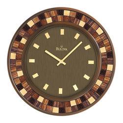 "Bulova - Mosica 19"" Round Decorative Wall Clock with Mosaic Glass Inserts - Metal case, burnished bronze finish"