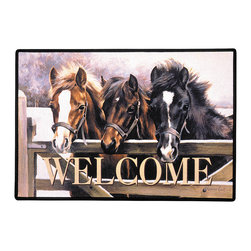 030-Over The Gate Horse Doormat - 100% Polyester face, permanently dye printed & fade resistant, nonskid rubber backing, durable polypropylene web trim. Use on the porch or near your back entrance to the house. Indoor and outdoor compatible rugs that stand up to heavy use and weather effects