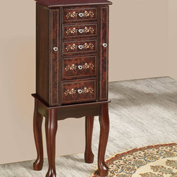 Coaster - Jewelry Armoire, Tobacco - Detailed floral painted accents, stylish cabriole legs and decorative drawer knobs make this piece a beautiful addition to any room.