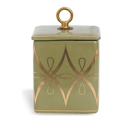 Port 68 - Zelda Olive Square Box - Decorate your desk or coffee table with the Zelda Olive Square Box. Featuring an antique brass ring finial and gold accents over a soft olive green glaze, the box is perfect for storing office supplies or letters. Incorporate it into traditional decor for a cohesive and elegant look.