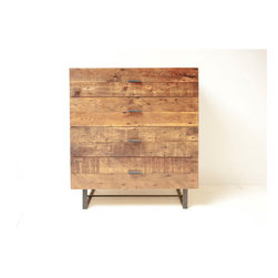 Sustainable Rustic Modern 4-Drawer Chest by Blake Avenue - The wood of this dresser is very rustic, but the overall design has a clean and modern feel.