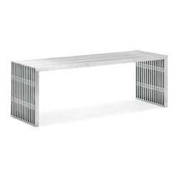 Zuo Modern - Novel Double Bench Stainless Steel - Add a contemporary touch to your home decor with our Novel Double Bench. This bench has a perfect look to grace your entryway or to add extra seating around the dining table. It comes in a brushed stainless steel finish with clear arcylic spacers and rubber feet.
