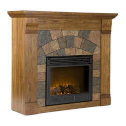 Holly & Martin - Elkmont Salem Electric Fireplace in Antique O - Eco-friendly. Faux slate front. Ventless. Beautiful media room accent. Remote control requires two AAA batteries        . Realistic flickering flame effect. Long life LED lights. 120V-60Hz, 1500W / 5000 BTUs, 12.5 Amp. Easy to use adjustable thermostat. Safety thermal overload protector. Adjustable flame brightness control. Plugs into standard wall outlet with 6 ft. cord. Tested to heat 1500 cubic feet in only 24 minutes. Uses about the same energy as coffee maker. 100% energy efficient with low operating costs. Produces zero emissions and pollutants. No combustion glass remains cool to touch. Mantel supports upto 85 lbs.. Accommodates upto 42 in. flat screen TV. Made from Chinese oak, resin, veneer, MDF with PB, metal and glass. Assembly required. Firebox front: 23 in. W x 20 in. H. Overall: 45.5 in. W x 14.5 in. D x 40 in. H (104 lbs.)Beautifully rustic, this antique oak fireplace exudes character and style. The stunning wood grain is further enhanced with aged distressing such as worm holes and small marks and imperfections making each piece unique. The faux slate front has a stunning pattern of tiles that arch across the front creating this true masterpiece. Portability and ease of assembly are just two of the reasons why our fireplace mantels are perfect for your home. Requiring no electrician or contractor for installation allows instant remodeling without the usual mess or expense. In addition to your living room or bedroom, try moving this fireplace to your dining room for romantic dinners or complement your media room with a ventless fireplace below your flat screen television. Use this great functional fireplace to make your home a more welcoming environment.