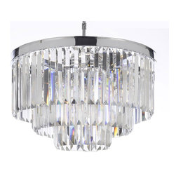 "The Gallery - Odeon Crystal Glass Fringe 3-Tier Chandelier Chrome Finish - 100% Crystal Chandelier, This Fantastic Empire Chandelier Is Characteristic Of The Grand Chandeliers Which Decorated The Finest Chateaux And Palaces Across Europe And Reflects A Time Of Class And Elegance Which Is Sure To Lend A Special Atmosphere In Every Home.Size: H 21.5"" W 19.75"" 9 Lights Chrome Finish"