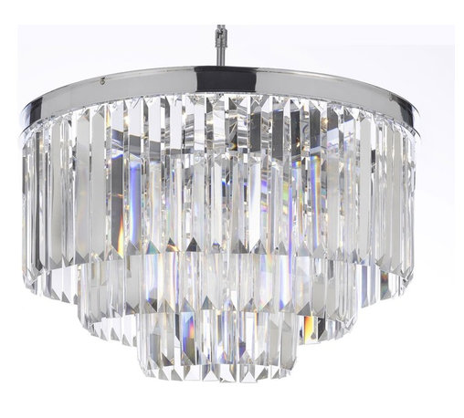 """The Gallery - Odeon Crystal Fringe 3-Tier chandelier Chrome Finish - 100% crystal chandelier, This Fantastic Empire chandelier Is Characteristic Of The Grand chandeliers Which Decorated The Finest Chateaux And Palaces Across Europe And Reflects A Time Of Class And Elegance Which Is Sure To Lend A Special Atmosphere In Every Home.Size: H 21.5"""" W 19.75"""" 9 Lights Chrome Finish"""