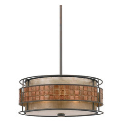 Quoizel Lighting - Quoizel Lighting MC842CRC 3 Light Pendant Ceiling Fixture - This mica piece is an addition to the Quoizel Naturals collection and features a mosaic tile stripe, which appears to be floating around a taupe mica shade.