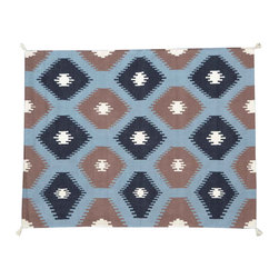Area Rug, 5'X7' Sky Blue Southwest Design Hand Woven 100% Wool Rug SH11464 - Soumaks & Kilims are prominent Flat Woven Rugs.  Flat Woven Rugs are made by weaving wool onto a foundation of cotton warps on the loom.  The unique trait about these thin rugs is that they're reversible.  Pillows and Blankets can be made from Soumas & Kilims.