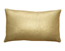 "Pillow Decor - Pillow Decor Tuscany Linen Gold Metallic Throw Pillow, 12"" x 20"" - These 12 x 20 rectangular pillows are made from 100% linen with a metallic gold finish. On your finger you'd consider the color 14 karat, with the lighter soft undertone of the natural linen fabric. But throw this pillow on a bed or sofa and you've got all the eye catching glitter and grace of pure gold."