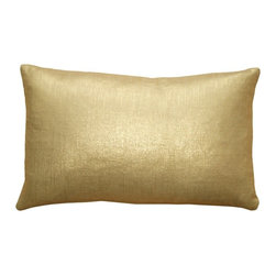 Pillow Decor - Pillow Decor - Tuscany Linen Gold Metallic 12 x 20 Throw Pillow - These 12 x 20 rectangular pillows are made from 100% linen with a metallic gold finish. On your finger you'd consider the color 14 karat, with the lighter soft undertone of the natural linen fabric. But throw this pillow on a bed or sofa and you've got all the eye catching glitter and grace of pure gold.