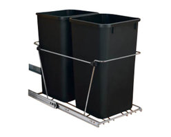 """Rev-A-Shelf - Rev-A-Shelf RV-15KD-18C S Double 27 Qt. Pullout Waste Container - Black - Are you looking to free up space in your kitchen and get rid of that stand alone wastebasket that always seems to be in the way? The Rev-A-Shelf RV-15KD-18C S Pullout Waste Unit is precisely what you need. This unit not only keeps your garbage and recycling out of sight, it also brings a whole new meaning to the word convenient. This pullout waste system includes (2) 27 quart black colored polymer waste containers, 100lb rated full-extension ball-bearing slides, a removable handle, and hardware and instructions. And perhaps the best part, the bottom mount installation takes just four screws to complete! Physical specifications: 11-13/16"""" W x 22-1/4"""" D x 19-1/4"""" H. Please make sure your cabinet has a minimum opening of at least 12"""" W x 22-3/8"""" D x 19-3/8"""" H to ensure a proper fit."""