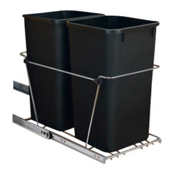 "Rev-A-Shelf - Rev-A-Shelf RV-15KD-18C S Double 27 Qt. Pullout Waste Container - Black - Are you looking to free up space in your kitchen and get rid of that stand alone wastebasket that always seems to be in the way? The Rev-A-Shelf RV-15KD-18C S Pullout Waste Unit is precisely what you need. This unit not only keeps your garbage and recycling out of sight, it also brings a whole new meaning to the word convenient. This pullout waste system includes (2) 27 quart black colored polymer waste containers, 100lb rated full-extension ball-bearing slides, a removable handle, and hardware and instructions. And perhaps the best part, the bottom mount installation takes just four screws to complete! Physical specifications: 11-13/16"" W x 22-1/4"" D x 19-1/4"" H. Please make sure your cabinet has a minimum opening of at least 12"" W x 22-3/8"" D x 19-3/8"" H to ensure a proper fit."