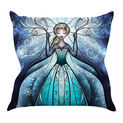 "Kess InHouse - Mandie Manzano ""The Snow Queen"" Frozen Throw Pillow (16"" x 16"") - Rest among the art you love. Transform your hang out room into a hip gallery, that's also comfortable. With this pillow you can create an environment that reflects your unique style. It's amazing what a throw pillow can do to complete a room. (Kess InHouse is not responsible for pillow fighting that may occur as the result of creative stimulation)."
