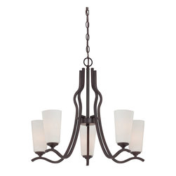 Savoy House Lighting - Savoy House Lighting 1-6220-5-13 Charlton 5 Light Chandeliers in English Bronze - The Charlton collection from Savoy House is like no other, featuring a English Bronze or Satin Nickel finish crafted with curves and white etched glass for a soft, beautiful glow. Available in sconces, chandeliers, pendants and semi-flush mounts.