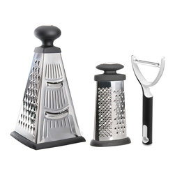 """Berghoff - Berghoff Studio Grater Set with Peeler 2-Piece - Set includes 4-side pyramid grater measuring 4.75"""" x 4.75"""" x 10.25"""", oval grater measuring 3.25"""" x 1.75"""" x 6.25"""", and handheld peeler"""