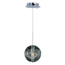 ET2 - ET2 E24251-91 1 Light Mini Pendant Orb Collection - Orb 1 Light Mini PendantBrilliant Xenon lamps radiate from the center of perfect spheres in the Orb Collection. Clear Bubble glass allows for a brilliant glow as it mimics the fluid play of water and air and adds a theatrical sense of drama to the room. The restrained use of Polished Chrome complements the globes without detracting from their ability to mesmerize onlookers with an innate mystery.Features: