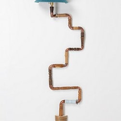 "Anthropologie - Ascension Lamp, Teal - Three-way switchProfessional hardwiring requiredHardware includedWood, cotton, wool, copper28 watt max72""H, 19""W, 11""DHandcrafted in UK"