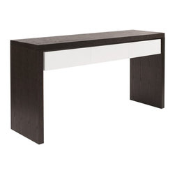 Howard Elliott - Howard Elliott Java Brown Console Table - Console Table, Deep Java Brown Wood Table with 3 Glossy White Drawers (KD Construction).