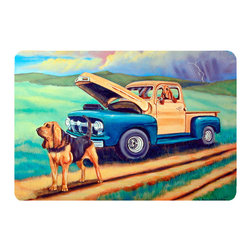Caroline's Treasures - Bloodhound Kitchen Or Bath Mat 20X30 - Kitchen or Bath COMFORT FLOOR MAT This mat is 20 inch by 30 inch.  Comfort Mat / Carpet / Rug that is Made and Printed in the USA. A foam cushion is attached to the bottom of the mat for comfort when standing. The mat has been permenantly dyed for moderate traffic. Durable and fade resistant. The back of the mat is rubber backed to keep the mat from slipping on a smooth floor. Use pressure and water from garden hose or power washer to clean the mat.  Vacuuming only with the hard wood floor setting, as to not pull up the knap of the felt.   Avoid soap or cleaner that produces suds when cleaning.  It will be difficult to get the suds out of the mat.