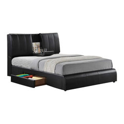 "Acme - Kofi Black Leather-Like Modern Style Queen Bed Frame Set - Kofi black leather like modern style queen bed frame set with built in center tray on headboard and storage drawers underneath. This set includes the queen headboard with built in center drink tray, footboard, side rails and slats with storage drawers underneath. Some assembly required. Measures 47""H. Also available in Cal king and Eastern king at additional cost."