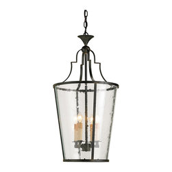 Kathy Kuo Home - Goshen Seeded Glass Wrought 4 Light Iron Bucket Lantern Pendant - With a shape reminiscent of a champagne or flower bucket, this wrought iron and seeded glass lantern would be perfect in an entryway or anywhere that classic wrought iron lighting is appreciated.