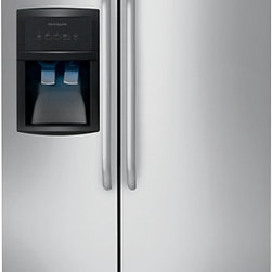 """Frigidaire 26.0 Cu. Ft. Side-by-Side Refrigerator - Consumer Reports says, """"side-by-sides are ideal for narrow kitchens but are the least space-efficient inside."""" Some people, like my husband, prefer this style, and this Frigidaire model has the convenient ice-and-water-through-the-door feature."""