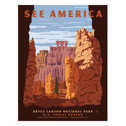 See America, Bryce Canyon National Park Print - See America poster showing the dramatic environment of Bryce Canyon National Park in Southern Utah A collection of giant naturalamphitheatersalong the eastern side of thePaunsaugunt Plateau.Illustration by Steven Thomas in 2013.