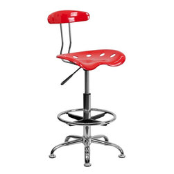"""Flash Furniture - Vibrant Cherry Tomato and Chrome Drafting Stool with Tractor Seat - Quality chair at an amazingly affordable price! This sleek, modern stool conforms to several areas in the home or office. The molded tractor seat offers great comfort. The height adjustable capability of this stool allows you to use the stool at the dining table and bar table and anywhere in between.; Tractor Stool; Cherry Tomato Molded """"Tractor"""" Seat; High Density Polymer Construction; 10"""" Height Range Adjustment; 10"""" Height Range Adjustment; Pneumatic Seat Height Adjustment; Height Adjustable Chrome Foot Ring; Chrome Frame and Base; Black Plastic Floor Glides; Weight: 17 lbs; Overall Dimensions: 17""""W x 16.5""""D x 32"""" - 40.5""""H"""
