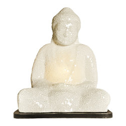 Foreign Affais Home Decor - ESSA Lamp, White - The Sitting Buddha Lamp is handmade of mosaic mesh. Each lamp is unique.