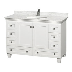 "Wyndham Collection - 48"" Acclaim Single Vanity w/ White Carrera Marble Top, Square Sink, No Mirror - Sublimely linking traditional and modern design aesthetics, and part of the exclusive Wyndham Collection Designer Series by Christopher Grubb, the Acclaim Vanity is at home in almost every bathroom decor. This solid oak vanity blends the simple lines of traditional design with modern elements like beautiful overmount sinks and brushed chrome hardware, resulting in a timeless piece of bathroom furniture. The Acclaim comes with a White Carrera or Ivory marble counter, a choice of sinks, and matching mirrors. Featuring soft close door hinges and drawer glides, you'll never hear a noisy door again! Meticulously finished with brushed chrome hardware, the attention to detail on this beautiful vanity is second to none and is sure to be envy of your friends and neighbors"