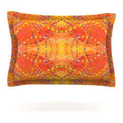 """Kess InHouse - Nikposium """"Sunrise"""" Orange Gold Pillow Sham (Cotton, 40"""" x 20"""") - Pairing your already chic duvet cover with playful pillow shams is the perfect way to tie your bedroom together. There are endless possibilities to feed your artistic palette with these imaginative pillow shams. It will looks so elegant you won't want ruin the masterpiece you have created when you go to bed. Not only are these pillow shams nice to look at they are also made from a high quality cotton blend. They are so soft that they will elevate your sleep up to level that is beyond Cloud 9. We always print our goods with the highest quality printing process in order to maintain the integrity of the art that you are adeptly displaying. This means that you won't have to worry about your art fading or your sham loosing it's freshness."""