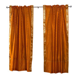 Indian Selections - Pair of Mustard Yellow Rod Pocket Sheer Sari Curtains, 43 X 96 In. - Several sizes available