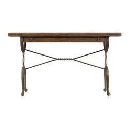 Stanley Furniture - European Farmhouse-Chivalry Split Top Valet - Old French andirons inspired the twisted metal base of this versatile, old world piece. Striking as a simple writing desk or sofa table.
