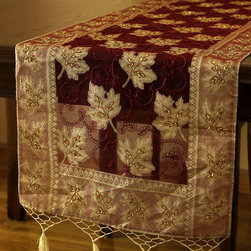 Elegant Table Runners - Soft 100% Silk Table Runner. Inspired by the Fall Season. Hand crafted in India. Cherry Latte color with gold shade. Red