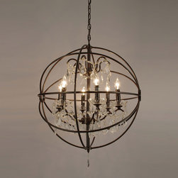 Foucault's Orb Crystal Iron 6-Light Chandelier - This is the perfect mix of reflective chandelier and metal. You could even spray paint it gold or chrome if you want more shine.