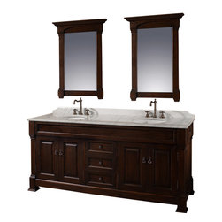 "Wyndham Collection - Wyndham Collection 72"" Andover Double Sink Bathroom Vanity Set in Dark Cherry - A new edition to the Wyndham Collection, the beautiful Andover bathroom vanity series represents an updated take on traditional styling. The Andover is a keystone piece, with strong, classic lines and an attention to detail. The vanity and solid marble countertop are hand carved and stained. Available in Black and Dark Cherry finishes to match any decor. Available in a range of single or double vanity sizes to fit any bathroom."
