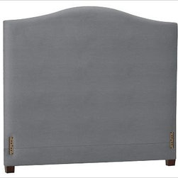 "Raleigh Camelback Headboard, Cal. King, Twill Metal Gray - Crafted by our own master upholsterers in the heart of North Carolina, our Raleigh Bed & Headboard is available in a graceful camelback silhouette. Crafted with a kiln-dried hardwood frame. Headboard, foot rail and side rails are thickly padded and tightly upholstered with your choice of fabric. Exposed block feet have a hand-applied espresso finish. Bed is designed for use with a box spring and mattress. Headboard also available separately. The headboard-only option is guaranteed to fit with our PB metal bedframe using the headboard hardware.. This item can also be customized with your choice of over {{link path='pages/popups/fab_leather_popup.html' class='popup' width='720' height='800'}}80 custom fabrics and colors{{/link}}. For details and pricing on custom fabrics, please call us at 1.800.840.3658 or click Live Help. Crafted in the USA. Full: 57.5"" wide x 83.5"" long x 59"" high Queen: 64.5"" wide x 88.5"" long x 59"" high King: 80.5"" wide x 88.5"" long x 59"" high Cal. King: 74.5"" wide x 92.5"" long x 59"" high Full: 57.5"" wide x 59"" high x 4.5"" deep Queen: 64.5"" wide x 59"" high x 4.5"" deep King: 80.5"" wide x 59"" high x 4.5"" deep Cal. King: 74.5"" wide x 59"" high x 4.5"" deep"