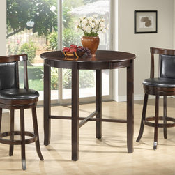 Monarch Specialties - Monarch Specialties 1281-1287 3 Piece Round Dining Room Set in Cappuchino - Enhance the trendy contemporary look of your casual dining area with this sleek  Cappuchino veneer bar height dining table. The counter top table offers ample space for dining or entertaining.