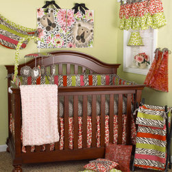 Cotton Tale Designs - Here Kitty Kitty 7 Piece Crib Bedding Set - A quality baby bedding set is essential in making your nursery warm and inviting. All Cotton Tale patterns are made using the finest quality materials and are uniquely designed to create an elegant and sophisticated nursery. Wild and fun Here Kitty Kitty is a beautiful 100% cotton nursery set. A combination of stripes in hot pink, green on tiger skin. The Here Kitty Kitty 7 Pc Set includes the 3 Pc bedding set(dust ruffle, fitted crib sheet, coverlet), diaper stacker, toy bag, valance, and pillow pack. Dust ruffle in hot pink and sheet in cheetah skin print. Coverlet in faux fur cream and pink with minky backing. The diaper stacker holds up to 5 dozen newborn diapers, ties to changer or chest. Functional and fun. Never tie on crib. Hand wash, cold water, hang to dry. 9 x 7 x 16. Here Kitty Kitty toy bag is a combination of bright tiger stripes with green lining. Trimmed in cheetah skin. Toys bags can be used as wall decor or can be tied to the changer for storage. 100% cotton. Can store toys or supplies. Never tie to the crib. machine wash cold water, gentle cycle separately. Tumble dry low or hang to dry. Toy bag for a girls nursery. 10 lbs. capacity. Here Kitty Kitty valance is double tiered in hot pink and green. 100% cotton the valance is tied to rod with cheetah string ties. Valance measures 51 x 15. 100% cotton. Machine wash, cold water, gentle cycle, separately. Tumble dry low or hand dry. A wonderful valance for a girls nursery. Here Kitty Kitty Pillow Pack comes with 3 pillow. A pair in hot pink and green with bias ties in cheetah, measuring 15x15 and 12x12. The third pillow is ruffled hot pink shirred over cheetah skin and measures 14x14. Pillows can all be used together or separately. Pillow should never be used inside the crib, only for decoration. Spot clean only. Be brave and make your baby girls nursery fun and exciting. Wash gentle cycle, separate, cold water. Tumble dry low or hang dry. Fun crib bedding for your special girl.