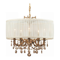 Crystorama - Crystorama Brentwood 1 Tier Chandelier in Aged Brass - Shown in picture: Ornate Casted Aged Brass Chandelier with Golden Teak MWP Crystal and an Antique White Shade; This isn't your Grandmother's crystal. The Brentwood Collection from Crystorama offers a nice mix of traditional lighting designs with large tailored encompassing shades. Adding either the Harvest Gold or the Antique White shade to these best selling skus opens the door to possibilities for these designer friendly chandeliers. The Brentwood Collection has a touch of design flair that will work for your traditional or transitional home.