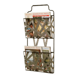 Welcome Home Accents - Gun Metal Silver Wall Mounted Magazine Holder - Gun Metal Silver wall mount magazine holder features metal tape measure as its frame. Two baskets hold all your magazines, books, etc.Two hooks on back for easy hanging. Dust with a dry cloth. Made in China