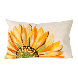 "Yellow Sunflower Print 12"" X 20"" Throw Pillow - This wonderful indoor / outdoor decorative throw pillow looks great in living rooms or patios or wherever you want a dash of color. Made of 100% polyester microfiber. The cover has a zipper closure so you can take out the fiberfill inner pillow for hand-washing if you need to. The pillow measures 12 inches by 20 inches."