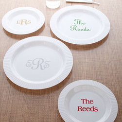 """Horchow - 50 7""""Dia. Premium Salad/Dessert Plates - White disposable plastic plates are personalized with your initials or name in colorful ink and your choice of typestyles shown. Choose ink color below. Made in the USA. Salad/dessert plates, 7""""Dia. Dinner plates, 10""""Dia. Personalization is three-ini..."""