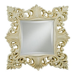 Timeless Traditions Ornate Square Mirror - 23W x 23H in. - Provide light and beauty to your décor style with the elegant design of the Timeless Traditions Ornate Square Mirror. With a detailed frame of embellished leaf patterns in a classic style this square mirror is ideal for just about any wall. It features a beveled edge contoured frame and is available in your choice of antique gold antique white or antique silver finishes that complement a variety of settings. Make any wall in your home worth a second look by adding this beautiful mirror to your living space.About AfinaAfina Corporation is a manufacturer and importer of fine bath cabinetry lighting fixtures and decorative wall mirrors. Afina products are available in an extensive palette of colors and decorative styles to reflect the trends of a new millennium. Based in Paterson N.J. Afina is committed to providing fine products that will be an integral part of your unique bath environment.