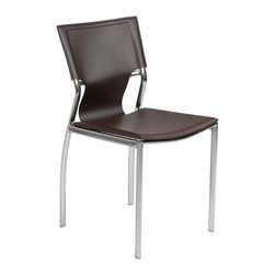 Eurostyle - Eurostyle Vinnie Side Chair in Brown Leather & Chrome [Set of 4] - Side Chair in Brown Leather & Chrome belongs to Vinnie Collection by Eurostyle The Vinnie Leather Side Chair is a modern contemporary chair with clean line. It features strong chromed steel frame and black or white leather seat and back. Simple and elegant, this versatile chair is a fashionable solution for any designed room of your home or office. Side Chair (4)