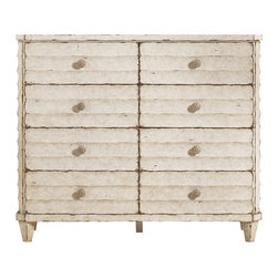 Stanley Furniture - Archipelago Ripple Cay Dressing Chest - Blanquilla Finish - The fluted exterior of the Ripple Cay Dressing Chest evokes the movement of water, the undulation of waves, while reinforcing the beauty of the natural wood grain. Eight drawers give this arresting chest plenty of functionality to back up its effortless good looks. Made to order in America.